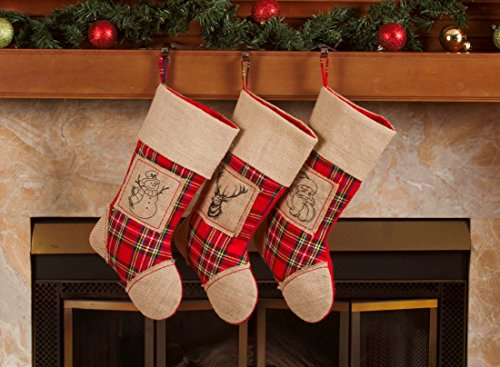 3 Pcs Set – Classic Christmas Stockings 18″ Cute Santa's Toys Stockings (Burlap Plaid)