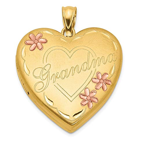 (1/20 Gold Filled Grandma 23mm Enameled Heart Photo Pendant Charm Locket Chain Necklace That Holds Pictures Fashion Jewelry Gifts For Women For Her)