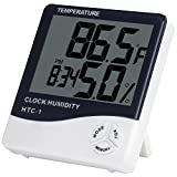 Anpro Digital Indoor Temperature and Humidity Meter with Alarm Clock, LCD Hygrometer Thermometer Monitor for Home, Offic