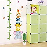 Ghaif Wall mount kindergarten classroom posters children's room decoration stickers for your baby's feet tall tree cane height-animal forest picture color King