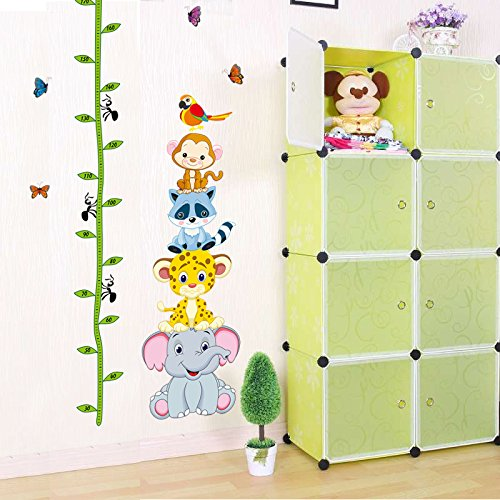 Ghaif Wall mount kindergarten classroom posters children's room decoration stickers for your baby's feet tall tree cane height-animal forest picture color King by Ghaif
