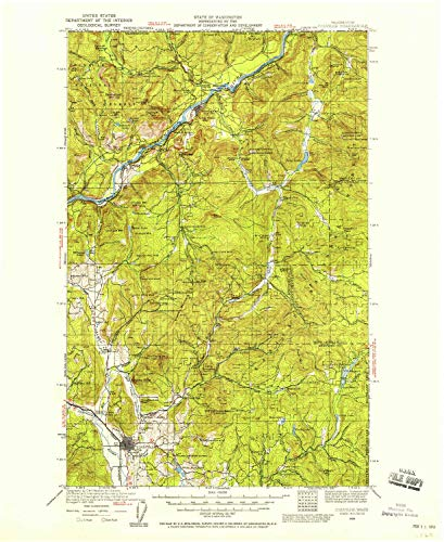 YellowMaps Colville WA topo map, 1:125000 Scale, 30 X 30 Minute, Historical, 1929, Updated 1958, 20.9 x 17.1 in - Paper (Outdoor Pend)