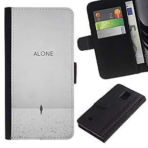 KingStore / Leather Etui en cuir / Samsung Galaxy Note 4 IV / Hiver Noir Blanc Déprimé