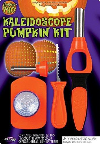 Fun World Halloween Pumpkin Kaleidoscope Jack O Lantern Poking Carving Tool Kit W/ Light
