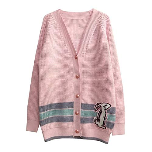QINJLI Knit Cardigan, Spring and Autumn Sweet Pink Openwork Rabbit Embroidery Patch Female Sweater Jacket