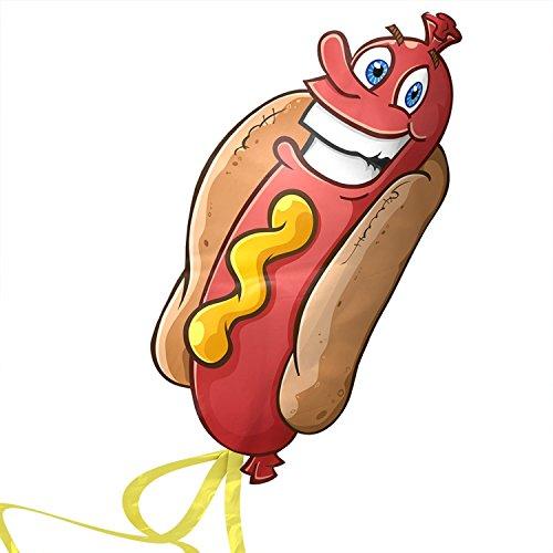 Kite Cometa Hot Dogs para Niños - despega a la más leve brisa - Lo mejor para Juegos de Playa - alta durabilidad - Cadena...