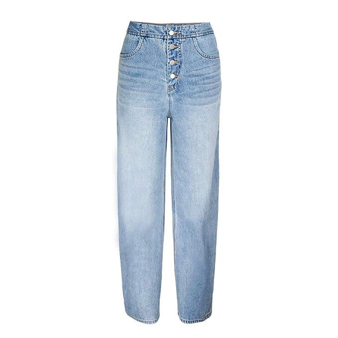 JYKING Jeans da Donna a Gamba Larga, Dritti a Vita Alta