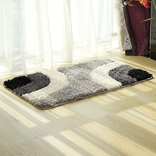 MeMoreCool European Style Bathroom/Living Room/Bedroom Dedicated Oblong Shape Geometry Pattern Superfine Fiber Cushions,Anti-Skidding Eco-Friendly Carpets,Grey