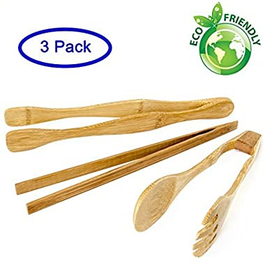 Set of 3 - Bamboo Tongs - Eco-Friendly and Natural, Use for Cooking, Serving, Turning, Eating, Grilling - Makes a Great Gift!