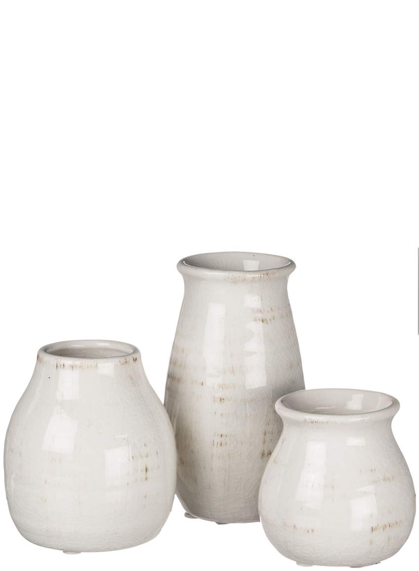 silk flower arrangements sullivans small white ceramic vase set, rustic white home decor, great for centerpieces, kitchen, office or living room (cm2583)