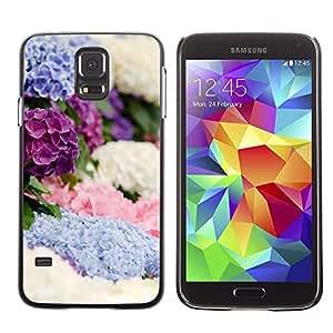 Be Good Phone Accessory // Dura Cáscara cubierta Protectora Caso Carcasa Funda de Protección para Samsung Galaxy S5 SM-G900 // Spring Flowers White Blue Purple