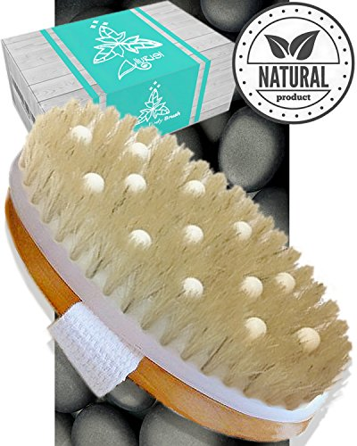 Dry Brushing Body Brush Cellulite Massager - Exfoliating Bath & Spa Scrubber for Shower with Natural Boar Bristles - Scrub Away Dead Skin and Toxins, Stimulate Lymphatic System