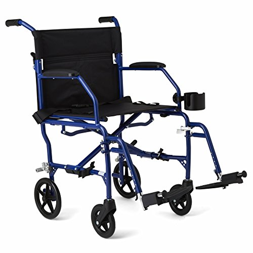"Medline Mobility Ultralight Transport Wheelchair, 19"" Wide Seat, Permanent Desk-Length Arms, Swing Away Footrests, Blue Frame"