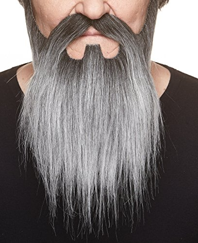Mustaches Self Adhesive, Novelty, Lord Fake Beard and Fake Mustache, False Facial Hair, Costume Accessory for Adults, Salt and Pepper Color -