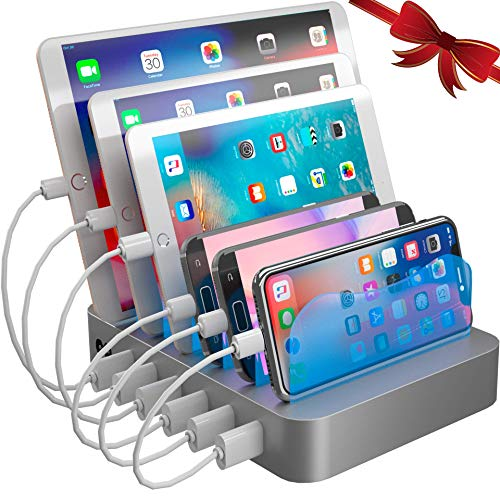 Hercules Tuff Charging Station Organizer for Multiple Devices - 6 Short Mixed Cables Included for Cell Phones, Smart Phones, Tablets, and Other Electronics from Hercules Tuff