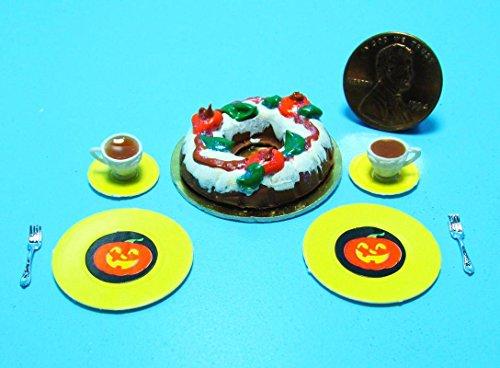 Dollhouse Miniature Fall/Halloween Bundt Cake with Tea, Plates & Forks SC - My Mini Fairy Garden Dollhouse Accessories for Outdoor or House Decor -