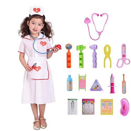 Cute Red Cross Nurse Girls Halloween Costume Kid Nurse Kit Toy Nurses Accessories (6-7) -