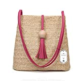 Turelifes Straw Bag Hand Weave Beach Handbag Summer Crossbody Shoulder Bags Bucket Tassel Totes for Women