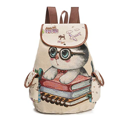 Women Canvas Backpack Cartoon Cat Pattern School Bag Pockets Casual Vintage Bag Travel Ruchsack #3 One Size (Casual Cartoon Pattern)