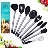 utensil spatula - Kitchen Eight Five Set of 8 Kitchen Utensils- Nonstick, Heat Resistant Stainless Steel & Silicone Cooking Spatulas- Includes Tongs, Serving Spoon, Pasta Server, Ladle, Whisk, 2 Spatulas, & Strainer