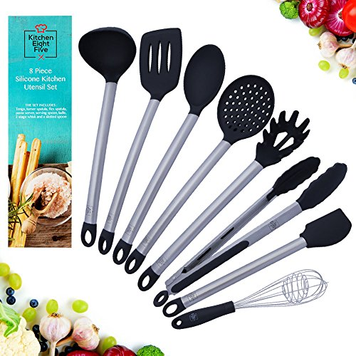 Kitchen Eight Five Set of 8 Kitchen Utensils- Nonstick, Heat Resistant Stainless Steel & Silicone Cooking...