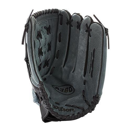 (Wilson A360 Slowpitch Softball Glove, Grey/Black/White, Right Hand Throw, 14-Inch)