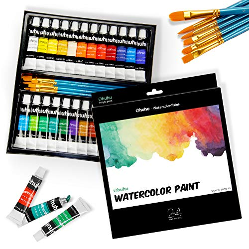 Watercolor Paint Tubes with 6 Painting Brushes, Ohuhu 24 Water Colors Painting Set for Artists, Students, Beginners, Water-Color Paints Kit for Landscape Portrait Paintings on Canvas, 12ml x 24 Tubes
