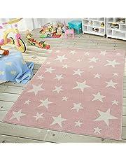Moderna Alfombra Pelo Corto Estrellas Habitación Infantil Pastel Rosa Blanco, tamaño:120x170 cm