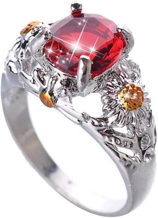 Peigen Womens Engagement Wedding Ring,Fashion Trend Small Flower Diamond Red Zircon Ladies Ring Jewelry