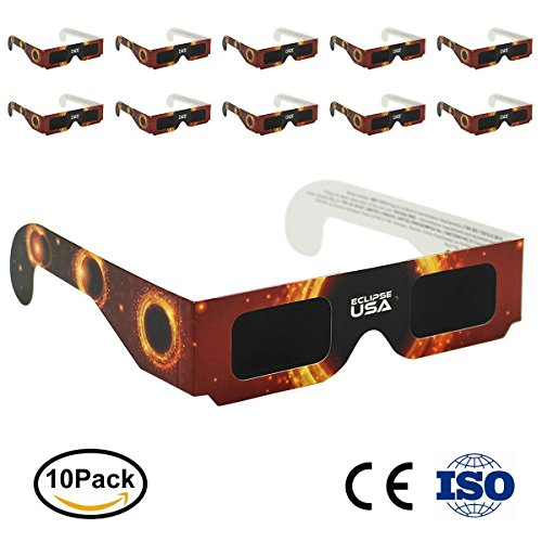 Price comparison product image OneAccess Solar Eclipse Glasses - CE and ISO Certified Safe Solar Total Eclipse Shades - Viewer and Filters, With Flag of the USA. August 21.2017(10 Pack)