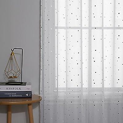 Deconovo Vorhang Voile Transparent Vorh/änge Wohnzimmer mit Schlaufen Transparent 175x140 cm Wei/ß Feder 2er Set