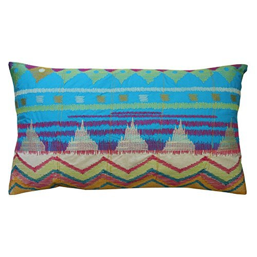 Koko Java Bright Ikat Inspired Embroidery and Applique Cotton Pillow, 15 by 27-Inch, Orange/Blue/Lime ()