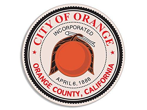 ROUND City of Orange California Sticker (ca - Orange Ca