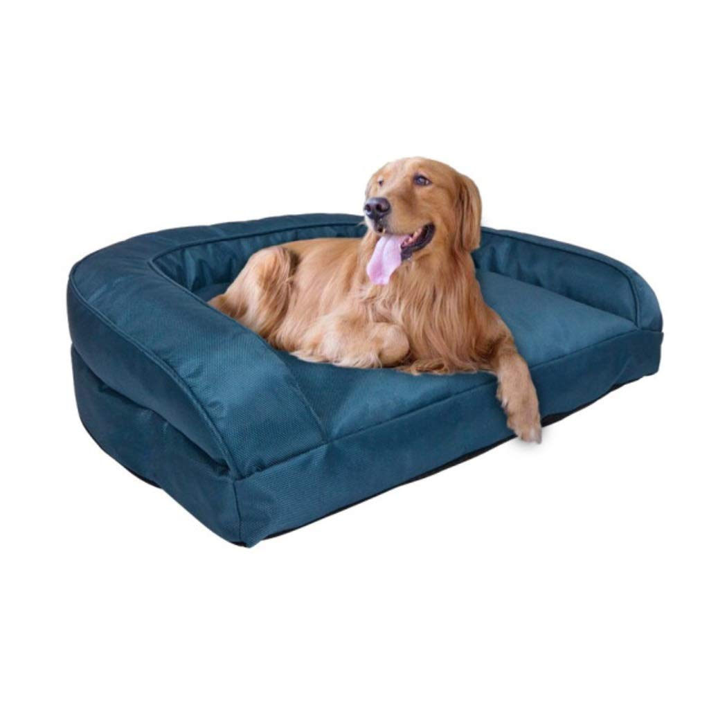 bluee M bluee M Mid West Deluxe Sofa-Style Couch Pet Bed for Dogs and Cats-Premium Orthopedic Mat Pet Bed Crate Kennel Mat, Removable Washable Cover (color   bluee, Size   M)