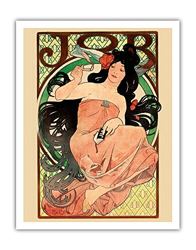 1898 Fine Art - Job - Cigarette Rolling Papers Advertisement - Art Nouveau - Vintage Advertising Poster by Alphonse Mucha c.1898 - Fine Art Print - 11in x 14in