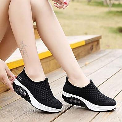 Zapatillas De Deporte Zapatos Respirado Ligero Malla Talla 35-42 Mujeres Deporte Running Zapatillas Sacudir Casual Zapatos Height-Increasing Sneaker