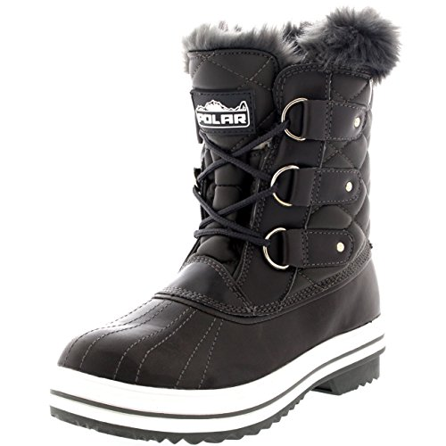 Womens Snow Boot Quilted Short Winter Snow Fur Rain Warm Waterproof Boots - 8 - GRL39 YC0024