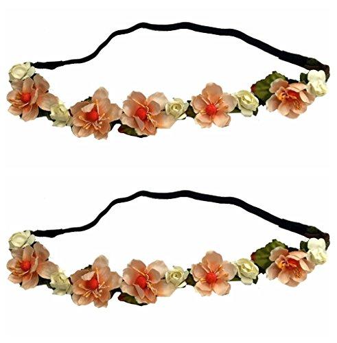 Handmade 2 PCS Set Women Girl Woven Floral Hair Band Flower Headband Crown Hair Garland Party Beach Light Orage