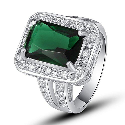 Genuine Created Emerald Solitaire - 4