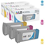 LD Remanufactured Replacements for HP 83 Set of 3 Ink Cartridges: C4941A Cyan, C4942A Magenta, C4943A Yellow for DesignJet 5000 Series, 5000 UV, 5000ps UV, 5500 UV, 5500PS UV