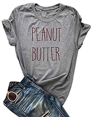 DUTUT Best Friends Matching T Shirts Women's Peanut Butter and Jelly Funny Top Blouse