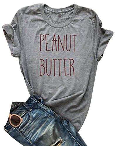 Peanut Butter Jelly Shirts for Best Friends Women Short Sleeve Funny T Shirts Top Size XL (Gray)