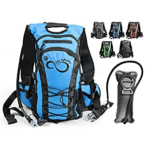 Hydration Backpack With 2.0L TPU Leak Proof Water Bladder- 600D Polyester -Adjustable Padded Shoulder, Chest & Waist Straps- Silicon Bite Tip & Shut Off Valve- (Blue Center)
