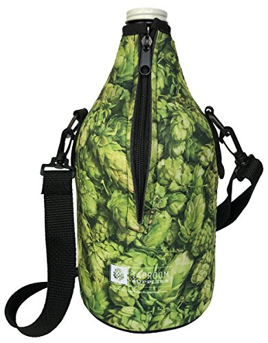 Taproom Supplies 64oz Premium Zip-Up Full Color Beer Growler Coozie with removable adjustable straps, coolie (64 oz, Green Hops) ()