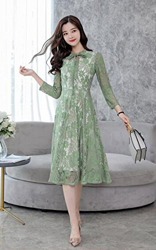 RBB lungo maniche lunghe sottile verde femminile Abito a a primavera maniche lunghe Iqwfw5Tr
