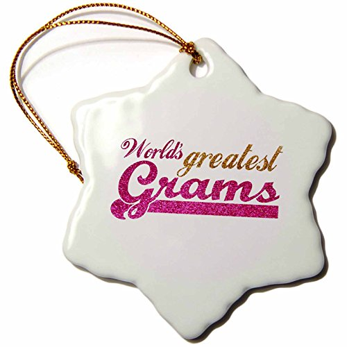 3dRose orn_151303_1 Worlds Greatest Grams-Best Grandmother in The World-Grandma Gifts-Pink Gold Text-Snowflake Ornament, 3-Inch, Porcelain