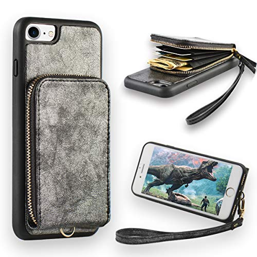 iPhone 8 Zipper Wallet Case, JLFCH iPhone 7 Wallet Case Leather Purse Handbag Case with Lanyard Card Holder Wrist Strap Zipper Closure Back Protective Cove for Apple iPhone 7/8,4.7 inch - Black -