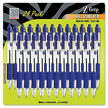Zebra - Z-Grip Retractable Ballpoint Pen, Blue Ink, Medium, 24/Pack