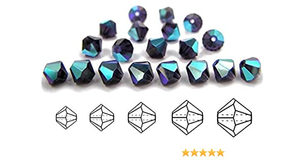 144-Piece Preciosa 4mm Czech Crystal Diamond//Bicone Bead Siam