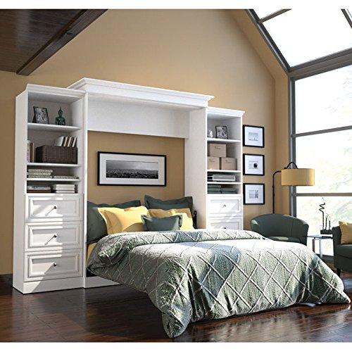 Bestar Versatile 115'' Queen Wall Bed with 2 Piece 6 Drawer Storage Unit in White